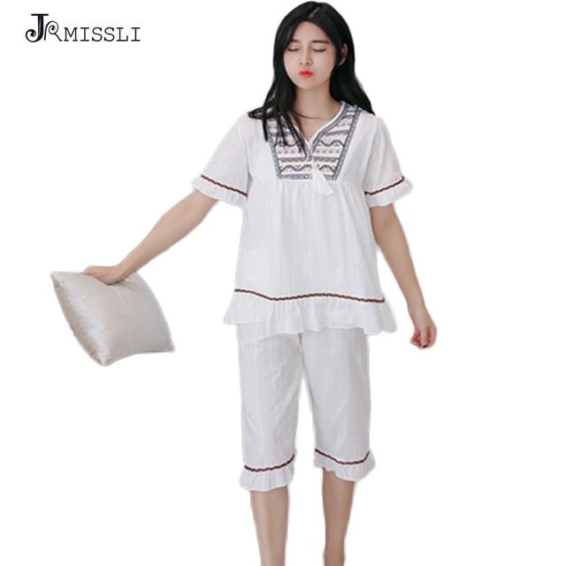 07929c0f32 JRMISSLI Women Pajama Sets Female Sleep Embroidery Cotton Lounge Pajamas  Clothes Home Clothing Sweet Pijama Pyjama
