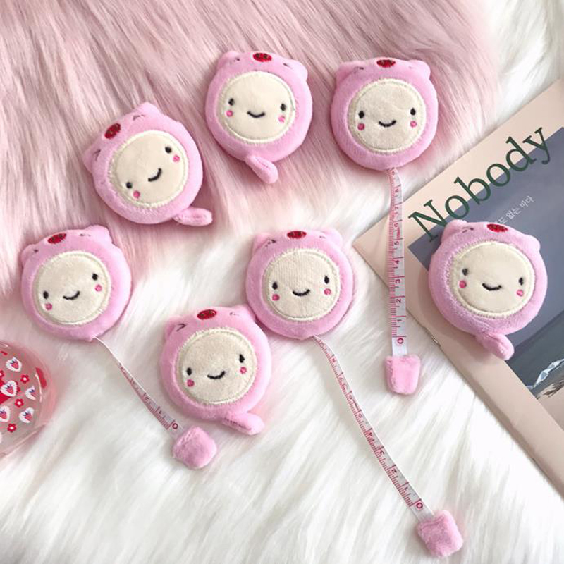 1 Pcs Kawaii Mini Pink Animal Pig Plush Roll Automatic Stretch Ruler 1.5 Meter Long Stationery Measure Ruler DIY Gifts