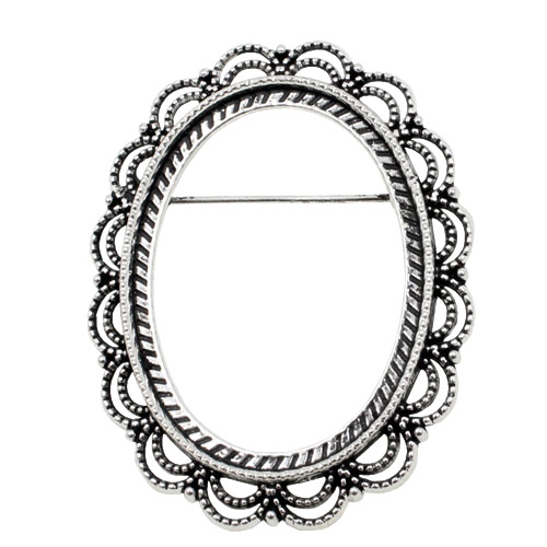 Fit 30x40mm Round Cabochon Antique Silver Gold Cameo/Glass Frame Bezel Settings Brooch DIY Accessory Base Charm 5pcs/lot K01147