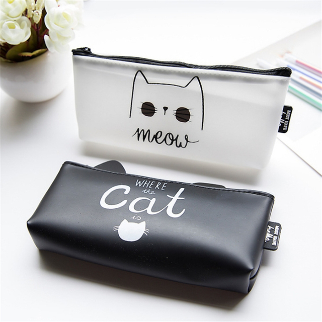 1 Pc Kawaii Cute Cat Pen Pencil Bag Silicon School Stationery Pencil Case Makeup Tools Pouch Cosmetics Case School Supplies
