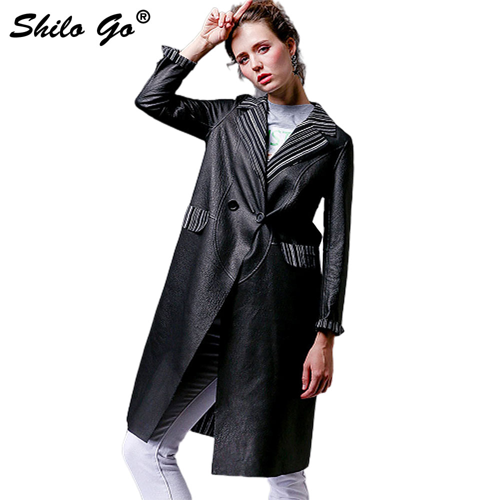 SHILO GO Leather   Trench   Womens Autumn Fashion sheepskin genuine Leather long coat striped lapel cuff double breasted slim waist