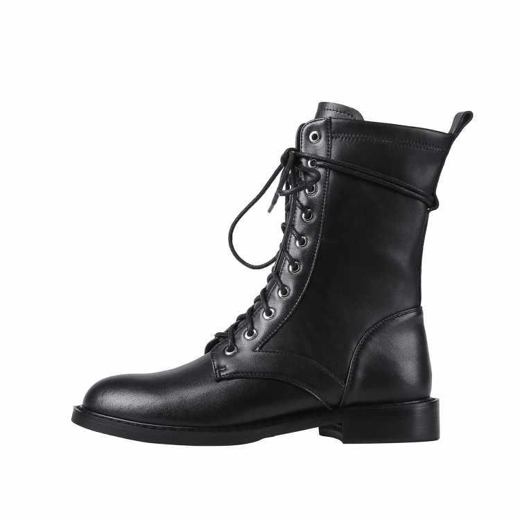 MLJUESE 2020 kadın yumuşak yarım çizmeler inek deri siyah renk yuvarlak ayak kış kısa peluş düşük topuk çizmeler kadın binici çizmeleri