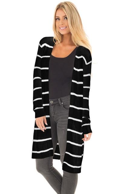 1474f85863 Aletterhin Acanalado Cardigan Informal Suéter de Punto A Rayas de Manga  Larga Para Mujer Plus Tamaño