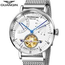 GUANQIN 2019 Men Watches Top Brand Luxury 316L Stainless steel Waterproof Skeleton Tourbillon Automatic Mechanical Watches Men стоимость