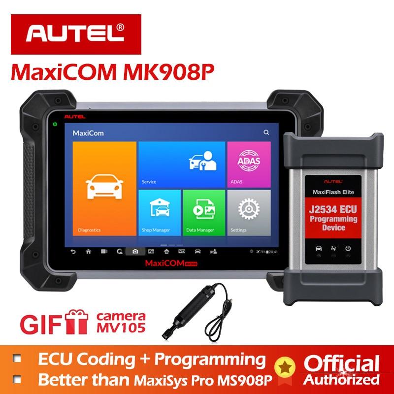 Autel MaxiCOM MK908P outil de Diagnostic Support 12 langues J2534 outil de programmation ECU codage 2019 nouveau PK MS908 PRO MS908P Scanner