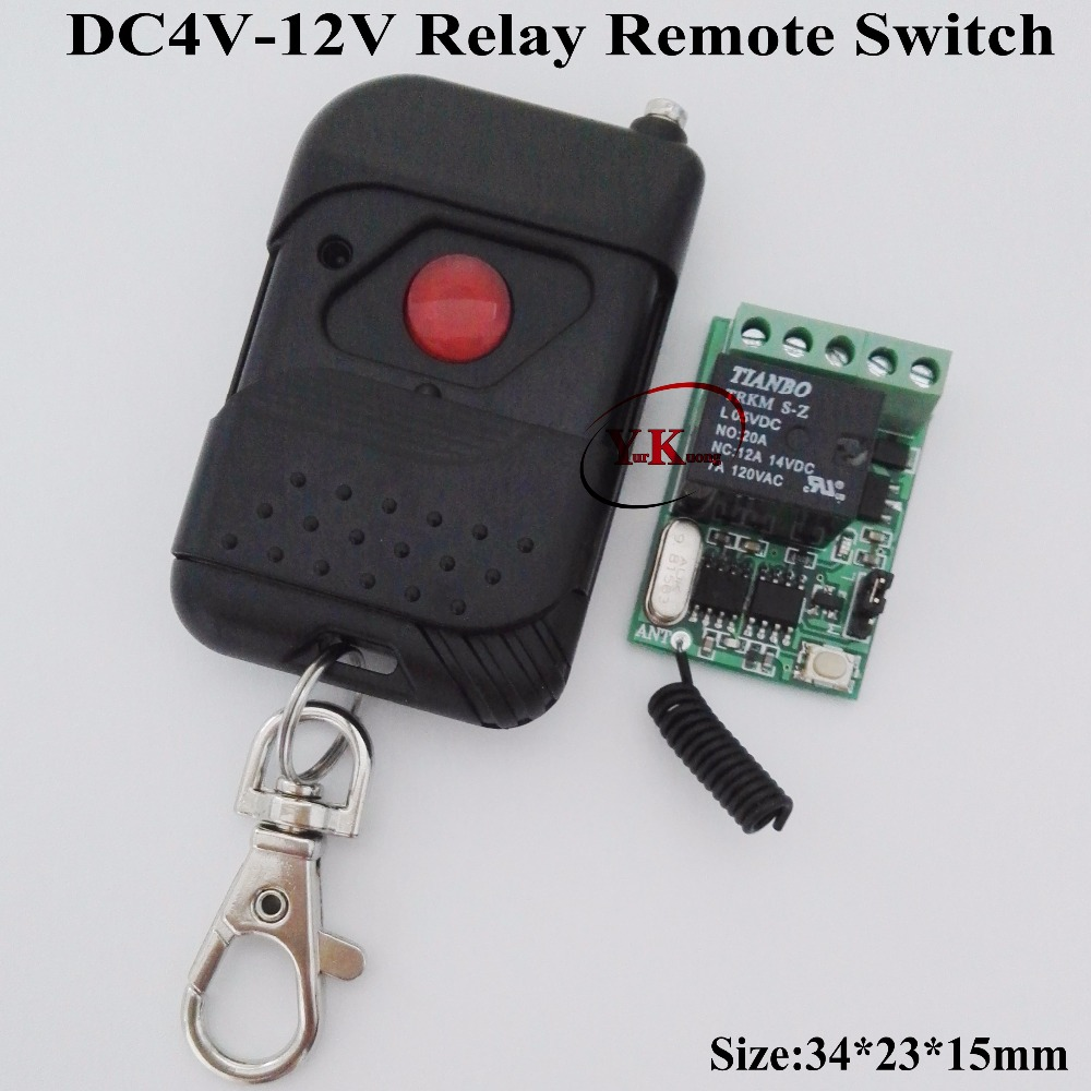 DC5V 6V 8.4V 7.4V 9V 12V Mini Size 10A Relay Contact Remote Switch Door Lock Opener Wireless Switch Normally Open Closed 315 433 dc 12v relay remote switch no com nc contact wireless switch 2a relay rf rx normally open close lithium aaa battery supply ask