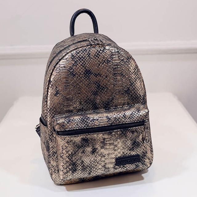 Mochilas Hot Sale Snakeskin Printing Backpack Women Bag 2016 New Fashion Vintage Backpack Girls Students Bags APB32