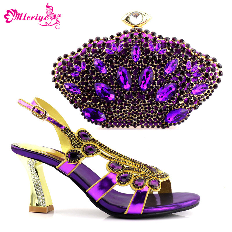Italian Shoes with Matching Bag for Women Nigerian Women Wedding Shoes and Bag Decorated with Appliques African Shoe and Bag Set new arrival african women matching italian shoe and bag set decorated with appliques nigerian shoes and bag bch 27