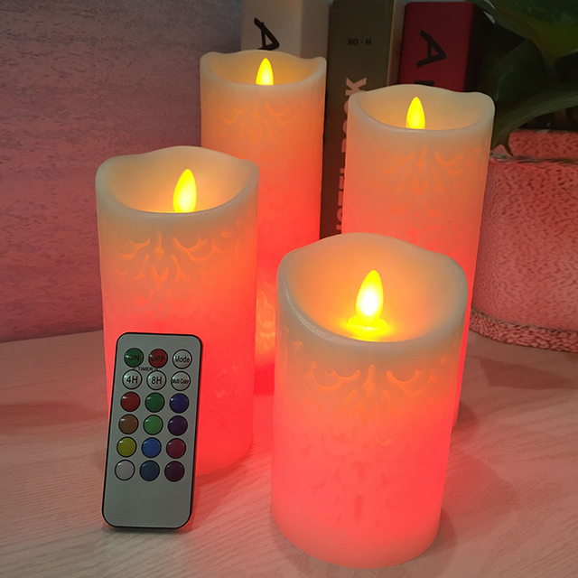 Dancing flame LED Candle with RGB Remote Control,Wax Pillar Candle for Wedding Christmas Decoration/room night light 5