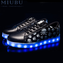 MIUBU 7 Colors Unisex LED Luminous Light Shoes Printed Skull head Lovers Women Fashion USB Led for Adult Eur 36-44