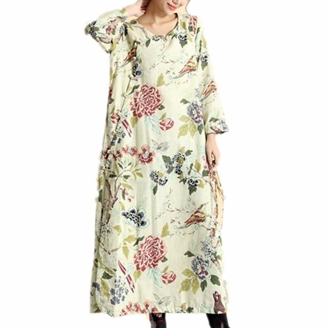 cbf206e8d9 Womens Floral Maxi Dresses Cotton Linen Robe Longue Femme Chinese Frog  Button Decoration Big Size Long Sleeve Dress