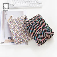 Kinbor Bohemia Tribel Style Notebook Multifucntional Organizer Cotton Portable Notebook Zipper Wallet Card Holder Notebook Case