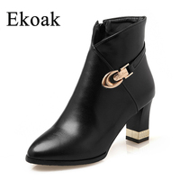 Size 34 43 New 2016 Winter Fashion Martin Boots Women Casual Leather Boots Pointed Toe Buckle
