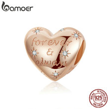 bamoer Dazzling Heart Shape Beads for Women Jewelry Making Forever Love Charm 925 Sterling Silver Bracelet Bijoux SCC1223