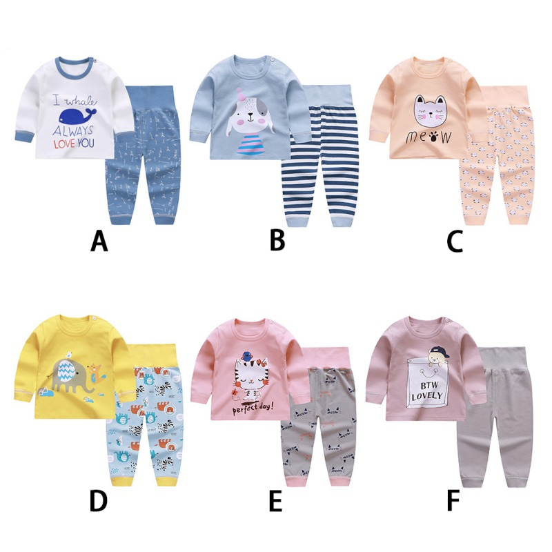 Cartoon Baby's Sets Cotton Full Sleeve Infant Underwears Kids Boys Outfits Toddler O-neck Sleepwear Clothing Girl Clothes 0-3Y