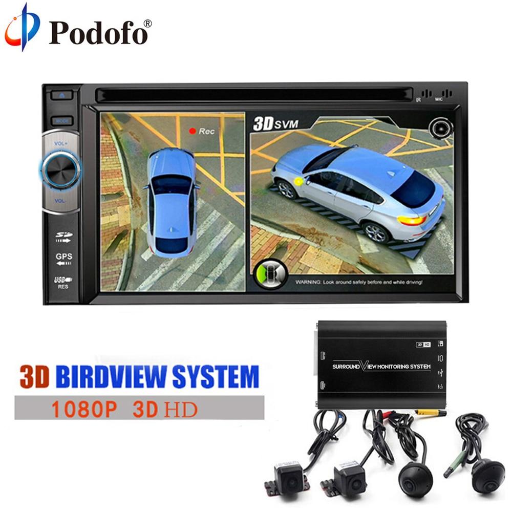 Podofo 2018 Più Nuova Automobile DVR HD 3D 360 Surround View System Sistema di guida Con Vista Uccello Panorama 4 della Macchina Fotografica 1080 P DVR G-Sensor