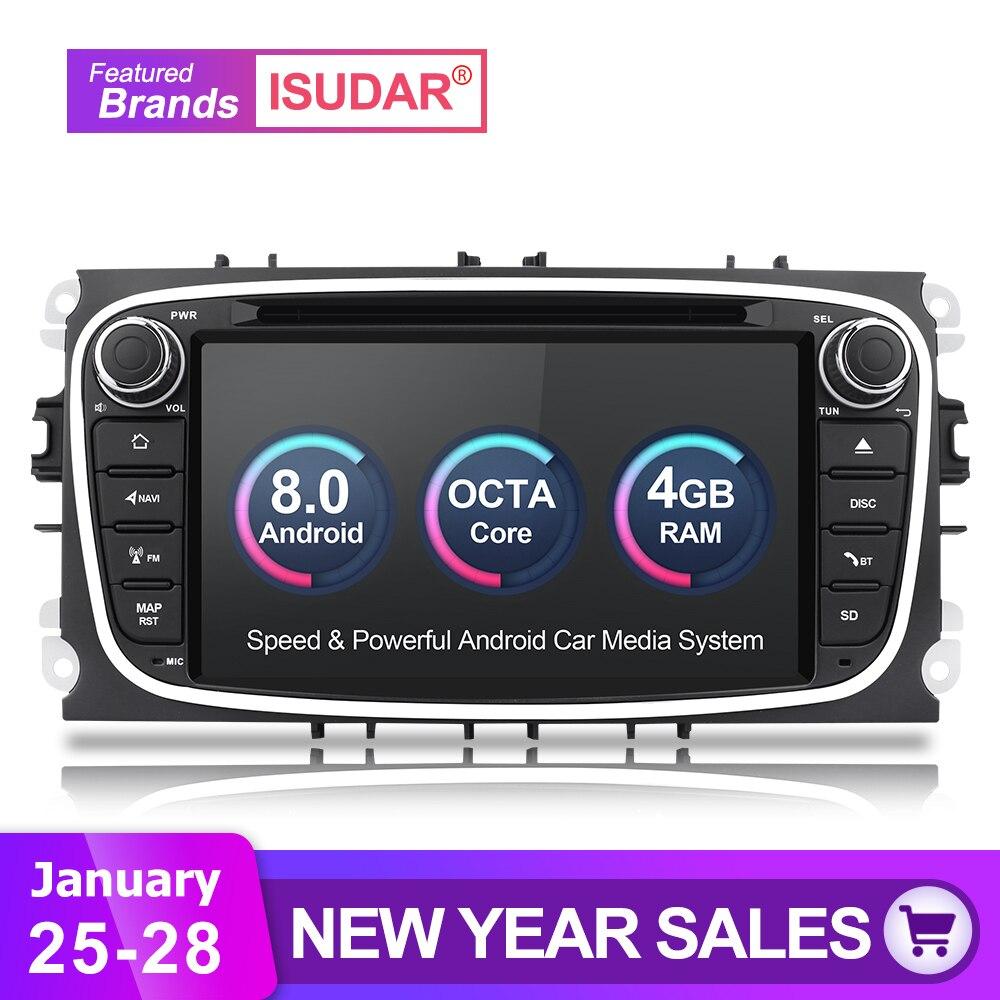 Isudar Voiture lecteur Multimédia Android 8.0 GPS Autoradio 2 Din Pour FORD/Focus/Mondeo/S-MAX/C-MAX /Galaxy RAM 4 GB 32 GB Radio DSP