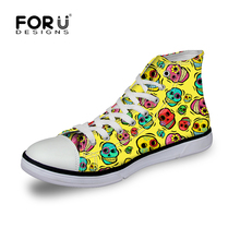 Frühling Frauen Schuhe Niedlichen Rosa Damen Leinwand Schuhe, Funny Emoji Schädel Hohe Schuhe für Teenager Mädchen Chaussure Femme Zapatillas