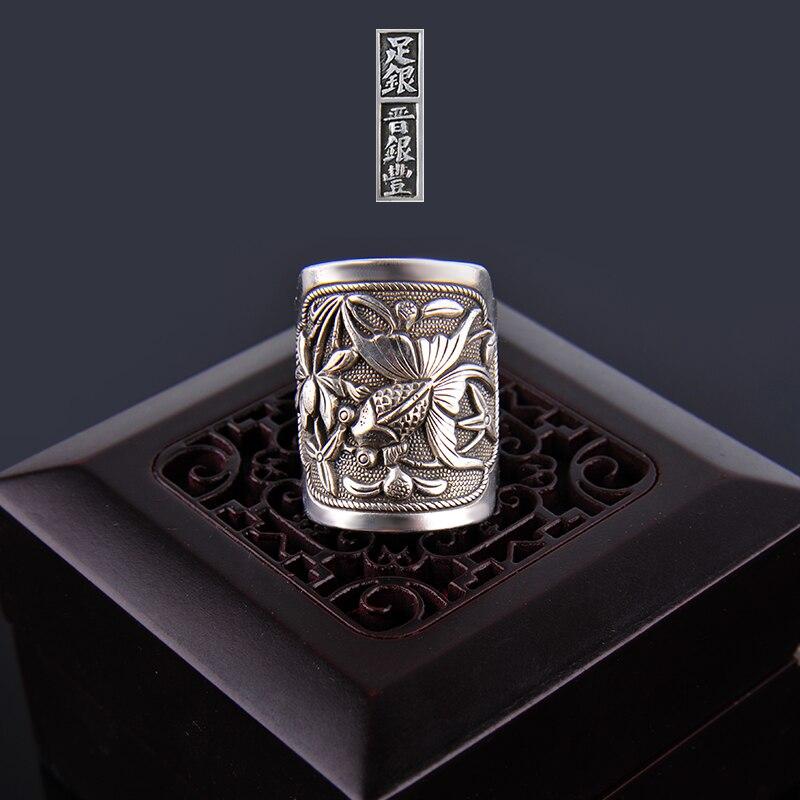 Silber Ring 999 Zuyin Kann es werden überschüsse jährlich. Männer und frauen paare öffnung Silber Ring emaille Shaolan ring - 5