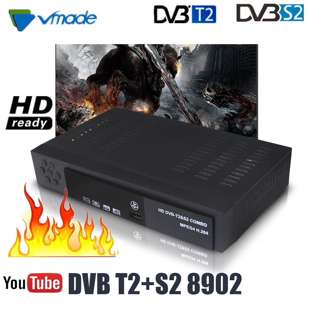 DVB T2 DVB S2 HD Digital Terrestrial Satellite TV Receiver Combo DVB T2 S2 H.264 MPEG2/4 TV Tuner Support Europe Southeast Asia