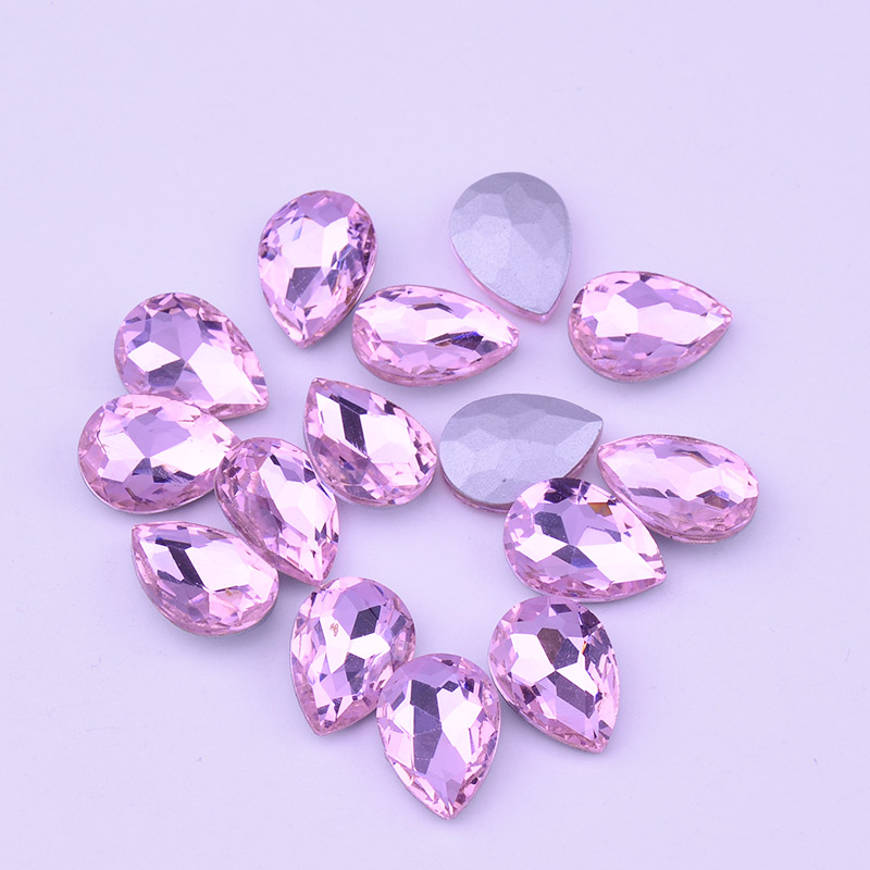 JUNAO 13 x 18 mm Light Pink Crystal Glass Drop Rhinestones Pointback Beads  Glue AB Crystals Non Hotfix Strass for Clothes Crafts 7a27bf9284ab