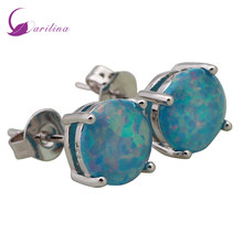 Garilina Christmas gift Party silver jewelry Gray Opal stud Earrings for women Fashion Jewelry E101(China)