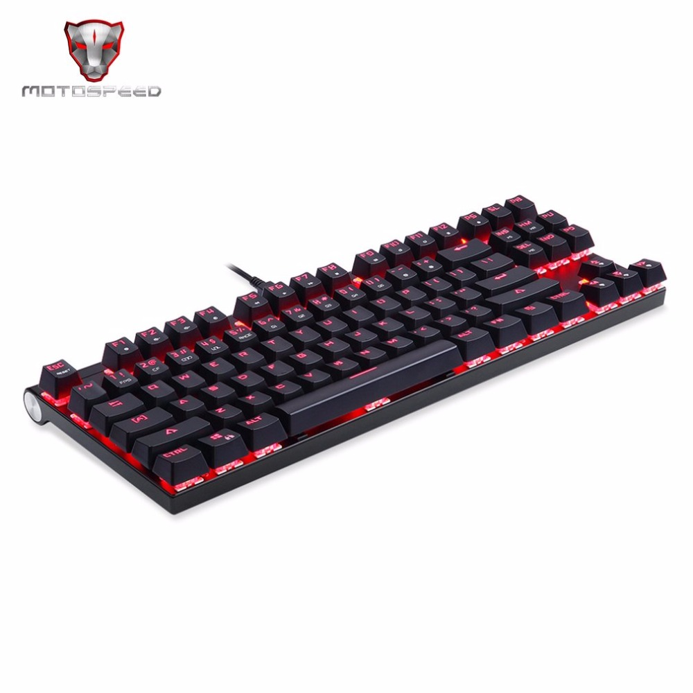 все цены на Hot! MOTOSPEED Gaming Wired Mechanical Keyboard 87 Keys Real RGB Blue Switch 14 colors LED Backlight Keyboard for Game PC онлайн
