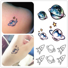 1Pcs Fashion Personality Waterproof Temporary Tattoo Women,lovely Deer Colorful 3d Planet Designs,disposable Watermark Sticker