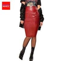 2017 Phụ Nữ PU Faux Leather Midi Pencil Bodycon Váy 2016 New Cộng Với Kích Thước Ladies Ống Sexy Váy Saia Femininas