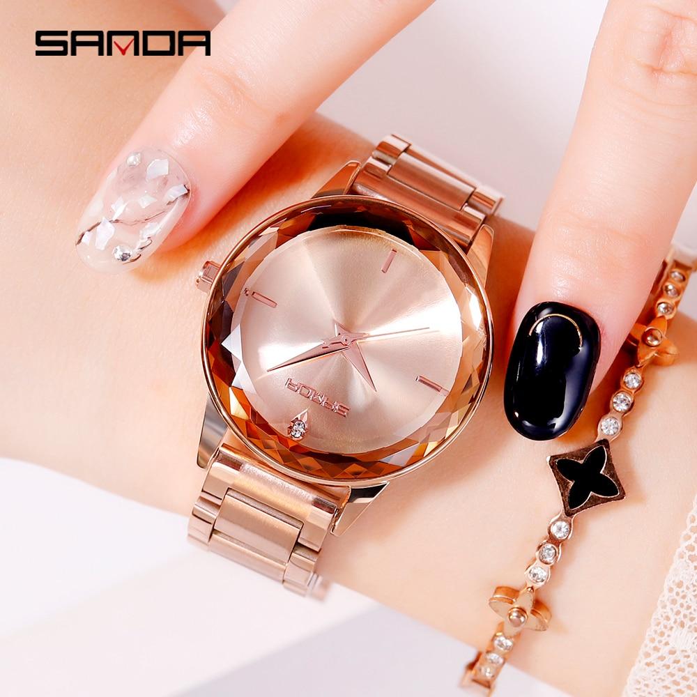 Sanda Purple Women Watch Fashion Stainless Steel Belt Quartz Ladies Wristwatches Rhinestone Female Clock Multi-Colors 2019