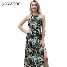 Yovamoo Summer 2018 Bohemian Halter Backless Bandage Sexy Split Long Dress Floral Print Holiday Beach Maxi Dresses Women