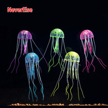 Jellyfish Ornament Decoration Aquarium Fish Tank Accessories Glow In The Dark with Line & Suction Silicone 3Sizes(Random Color)(China)