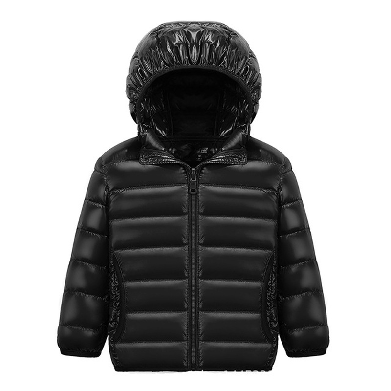 90% White DucK Down Winter Jackets for Boys Girls Ultra Light Portable Hooded Down Coat Overalls for Children Baby Down Jacket 2