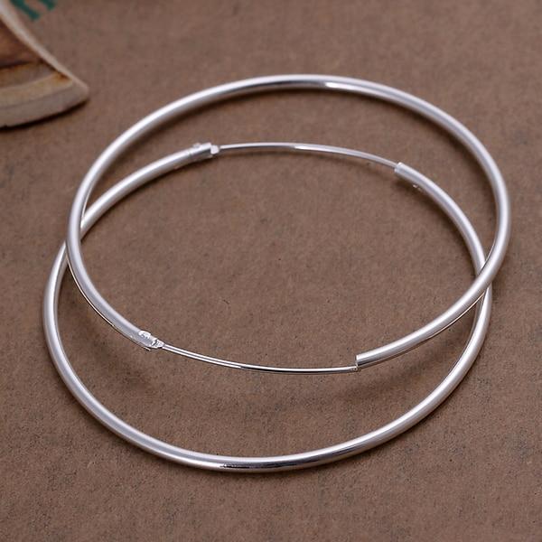 2017 Hot 925 silver earrings for women silver big circle hoop earrings fashion findings huge smooth round earings ear ring E042