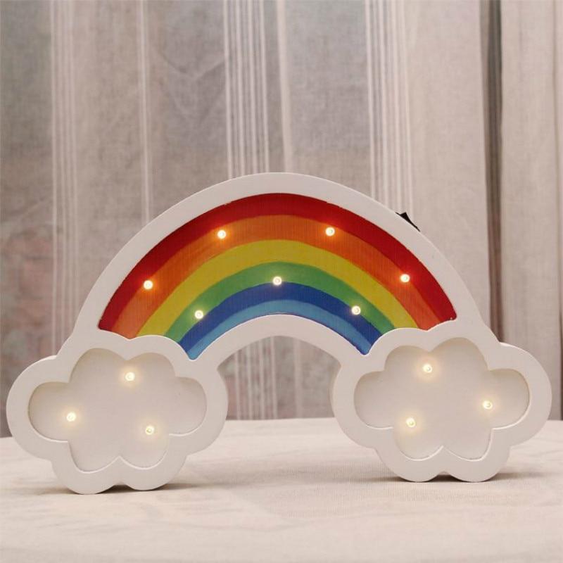 ₪Arco Iris luz de modelado madera LED noche luz niños habitación ...