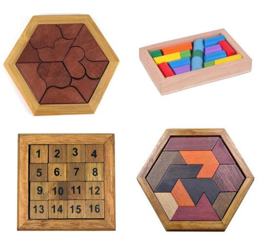 Wooden Board Puzzle Kids Educational Math Tangram Puzzles Game Toys For Adults Children