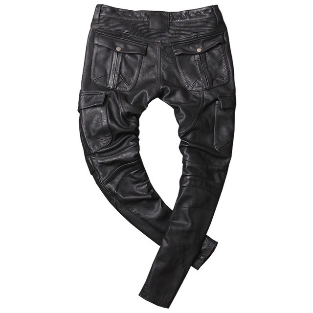 2020 Vintage Grey Men American Casual Style Motorcycle Leather Trousers Plus Size 4XL Genuine Thick Cowhide Pants FREE SHIPPING 6