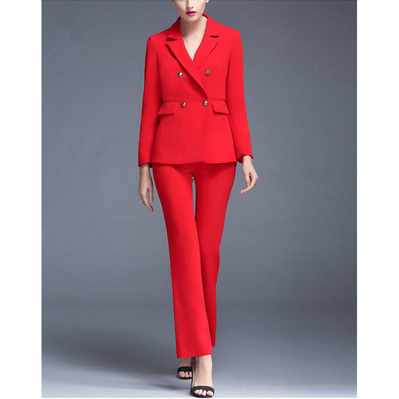 Red Womens Formal Business Suits Female Office Uniform Double Breasted 2 Piece Jacket Pants Bespoke Women Formal Suits B16