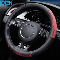 Hot Selling Cowhide Genuine Leather Hand Stitched Car Steering Wheel Cover Breathable And Anti Slip Fit