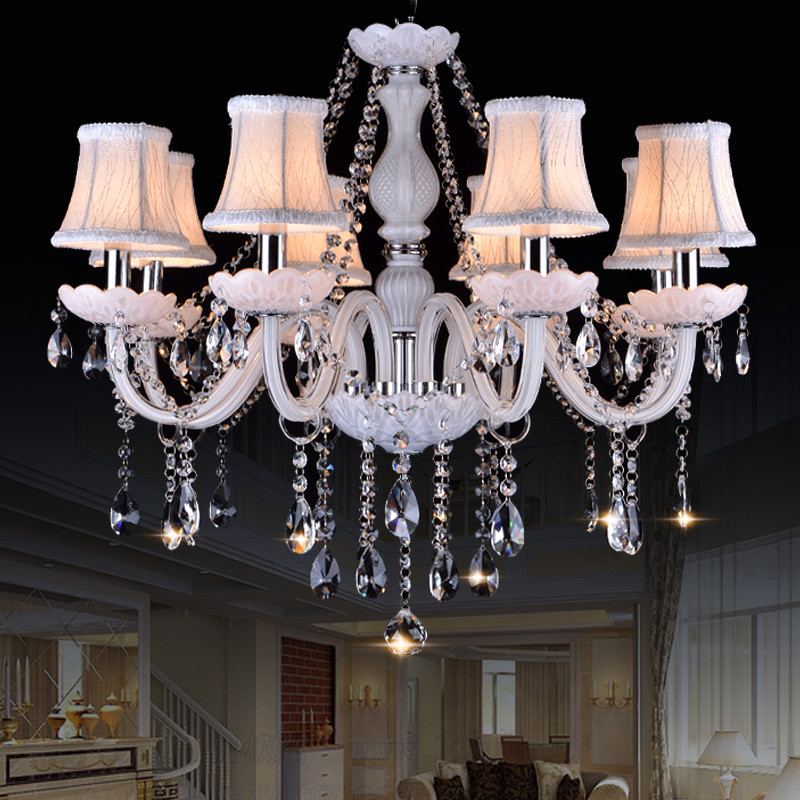Modern Style White Crystal Chandeliers Modern LED Chandeliers For Living Room lustres de sala de cristal Wedding decoration modern new k9 modern crystal lustres de cristal decoration chandeliers and pendants silver gold 6 8 15 18 arms for living room