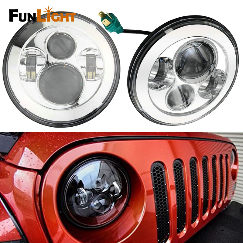 Chrome 1 Pair 7 Inch Round Black Led Headlights  Hi/lo Beam For Jeep Wrangler Jk Tj Harley Davidson MACK R Peterbilt Kenworth original new 7 archos 70 xenon tablet touch screen touch panel digitizer glass sensor replacement free shipping