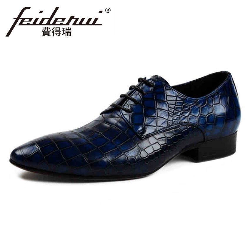 Italian Designer Handmade Men's Formal Dress Footwear Luxury Genuine Leather Pointed Toe Derby Man Wedding Party Shoes YMX264 new italian designer men s wedding party footwear genuine leather pointed toe lace up derby man luxury formal dress shoes ymx504