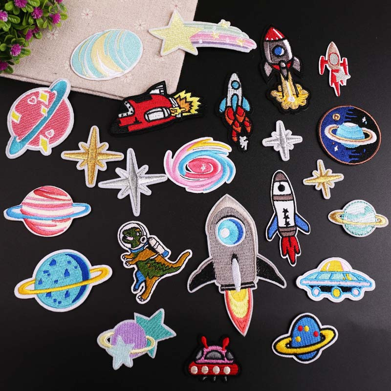 Astronaut Rocket Planet Embroidery Patch Heat Transfers Iron On Sew On Patches For DIY Clothes Sticker Decorative Applique 47233