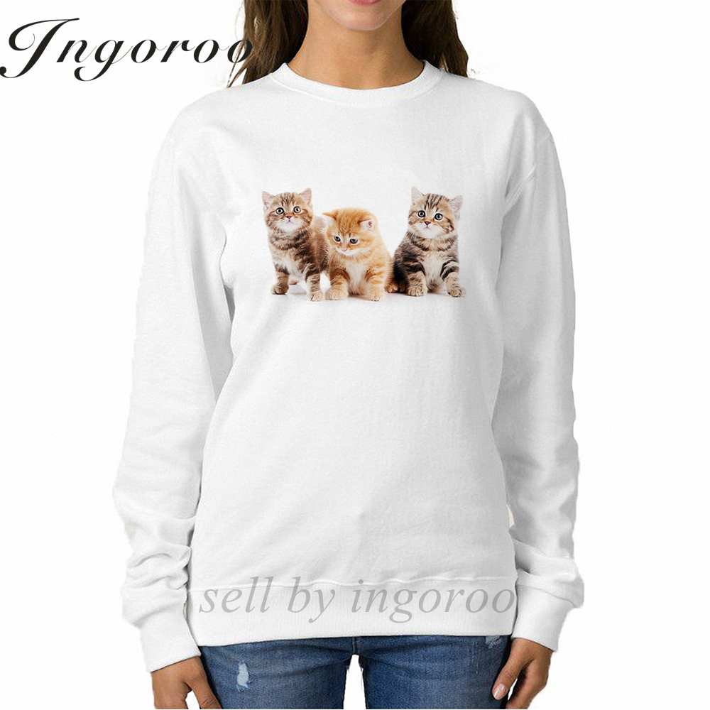 Babaseal Little British Shorthair Kittens Cat Print Long Sleeve Sweatshirt Harajuku Woman Hoodies Twice Panda Hoodie