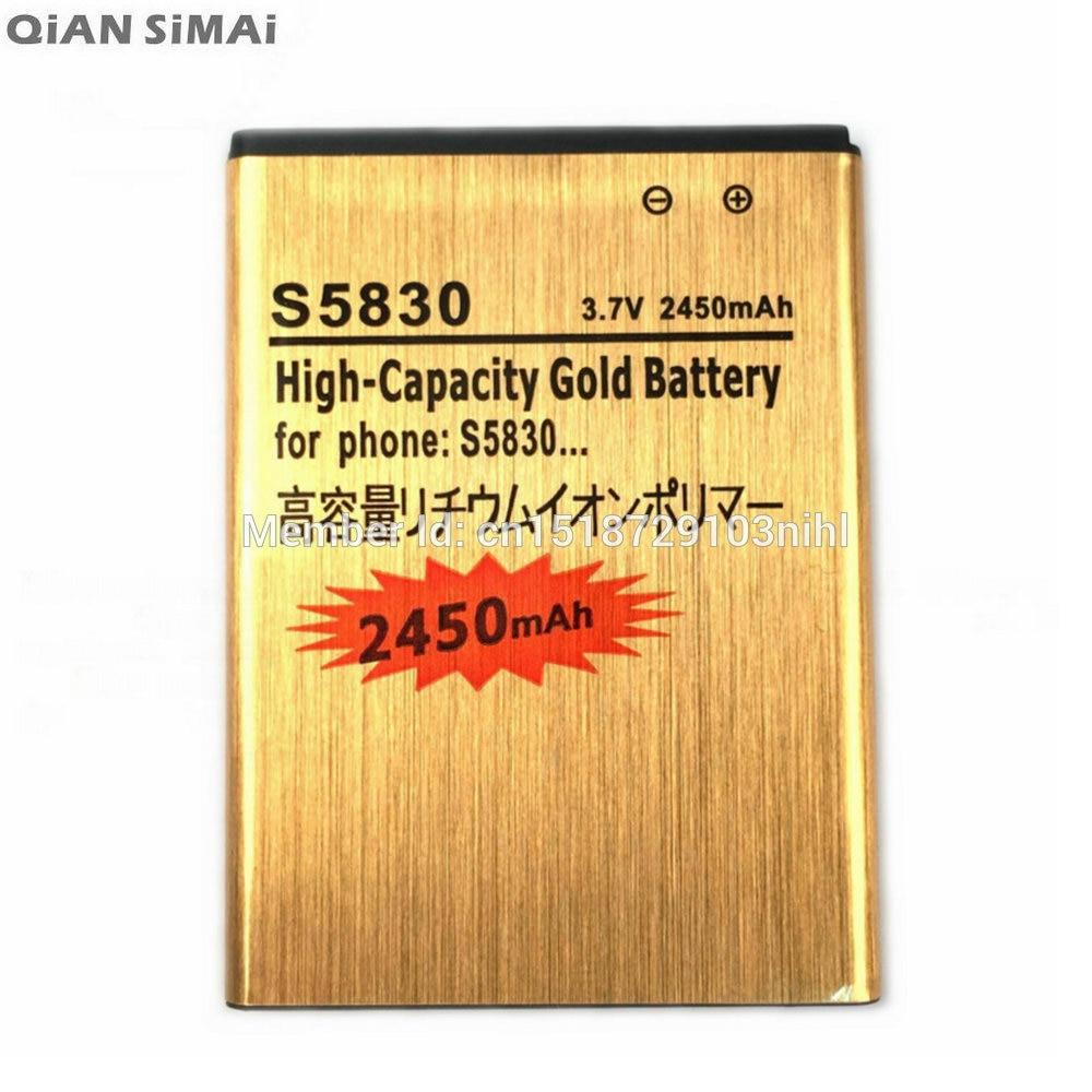 Цянь Симаи S5830 Золотой Батарея для Samsung Galaxy Ace Джо Pro <font><b>S5660</b></font> S5670 I579 I619 i569 S5830I S5838 S7500 s7510 EB494358VU