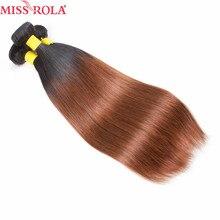 Miss rola cabelo pré-colorido ombre feixes de cabelo humano produto brasileiro em linha reta 3 pacotes t1b/30 cor amarela pálido não remy cabelo