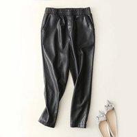 women Fashion Black Faux Leather Joggers Women Loose Jogger Pants Hip Hop Street Wear Harem Ankle Length Pants