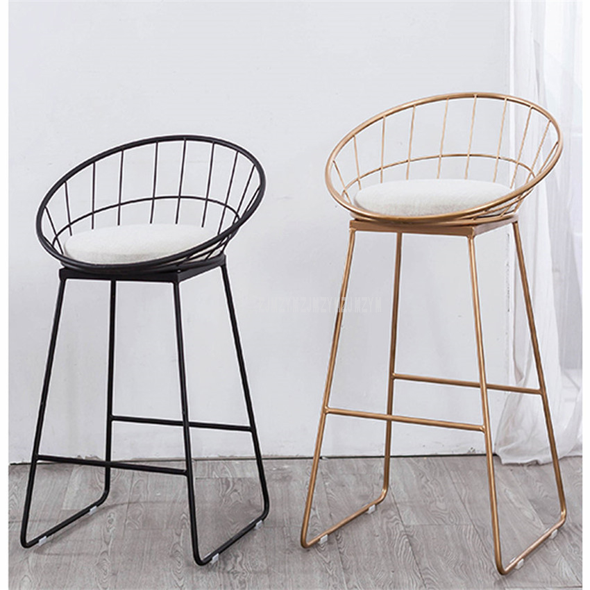 65cm/75cm Seat Height Bar Chair Modern Gold Black Metal Counter Stool Iron Art Soft Cushion European Coffee Shop High Footstool