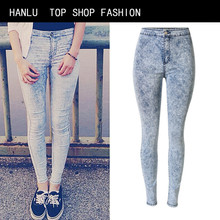 HANLU High Waist Elasticity Women Jeans Snow White Skinny Jeans Femme Fashion Bleached Push Up Pencil Pants Mujer Jean