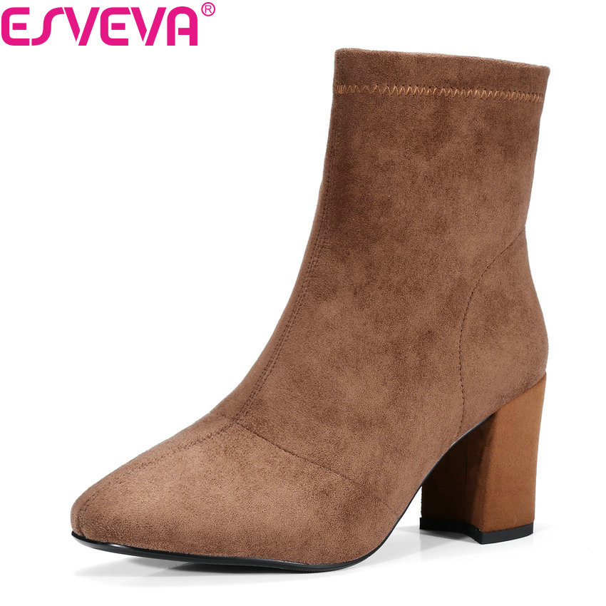 ESVEVA 2018Spring Autumn Women Boots Short Plush/PU Cow Suede Fashion Shoes Round Toe Square High Heel Ankle Boots Size 34-39 esveva 2018 women boots sweet style black ankle boots short plush pu lining pointed toe square high heel ladies shoes size 34 39